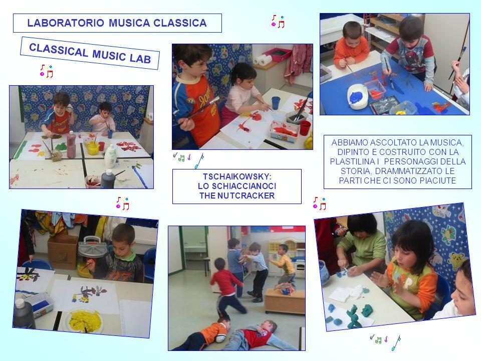 LABORATORIO MUSICA CLASSICA CLASSICAL MUSIC LAB ABBIAMO ASCOLTATO LA MUSICA, DIPINTO E COSTRUITO CON LA PLASTILINA I PERSONAGGI DELLA STORIA, DRAMMATIZZATO LE PARTI CHE CI SONO PIACIUTE TSCHAIKOWSKY: LO SCHIACCIANOCI THE NUTCRACKER