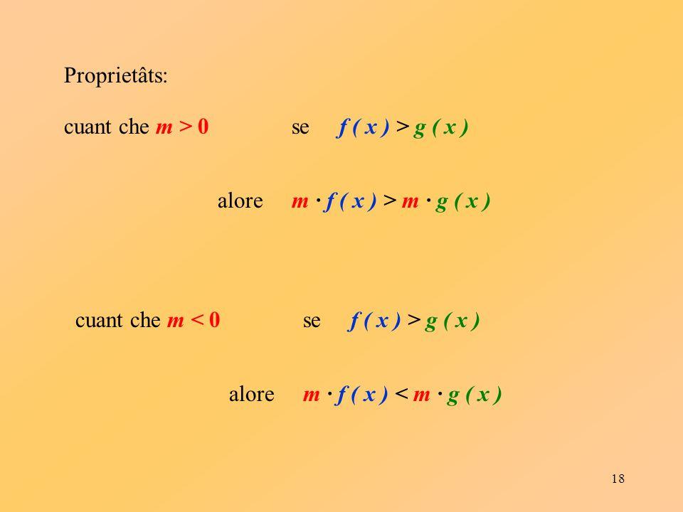 18 Proprietâts: cuant che m > 0se f ( x ) > g ( x ) alore m · f ( x ) > m · g ( x ) cuant che m < 0se f ( x ) > g ( x ) alore m · f ( x ) < m · g ( x