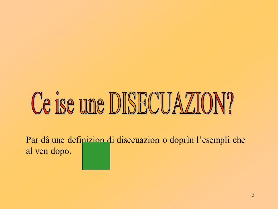 2 Par dâ une definizion di disecuazion o doprìn l'esempli che al ven dopo.