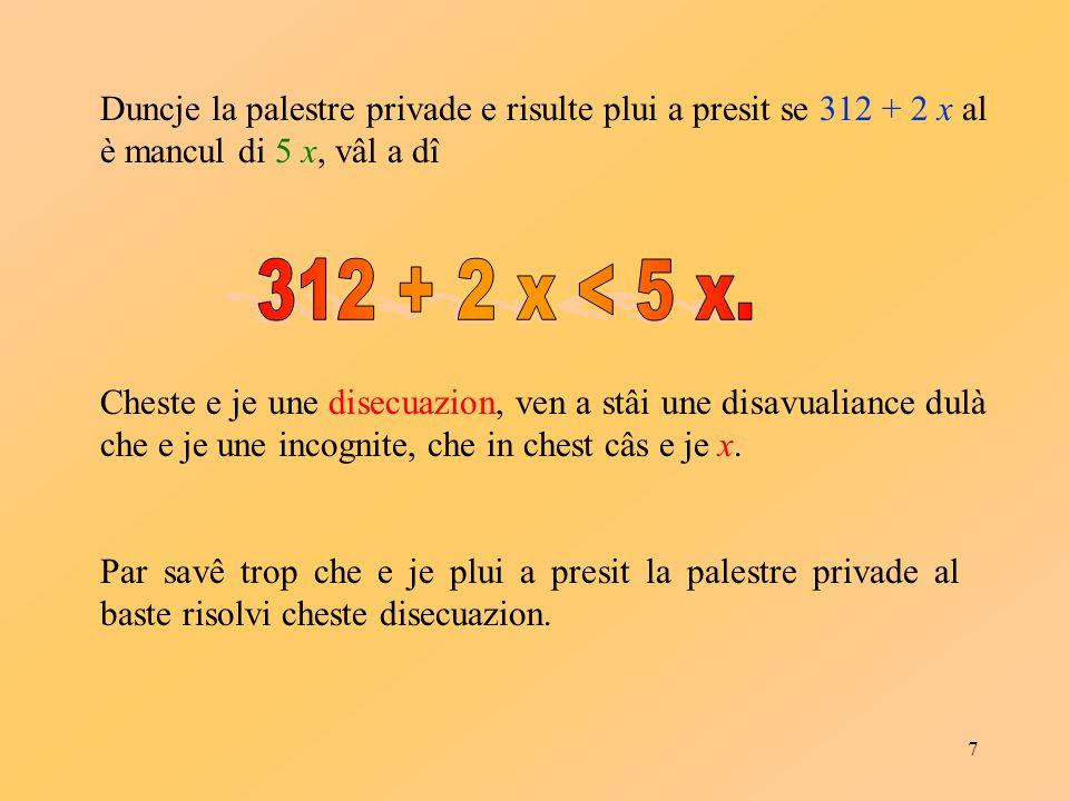 18 Proprietâts: cuant che m > 0se f ( x ) > g ( x ) alore m · f ( x ) > m · g ( x ) cuant che m < 0se f ( x ) > g ( x ) alore m · f ( x ) < m · g ( x )