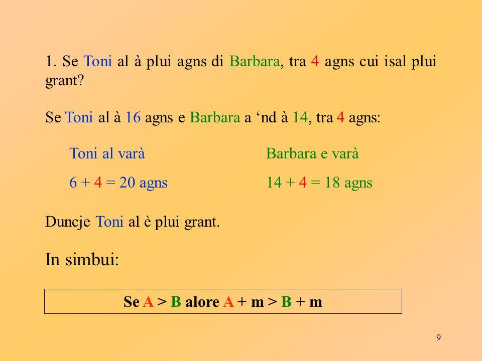 9 1. Se Toni al à plui agns di Barbara, tra 4 agns cui isal plui grant? Se Toni al à 16 agns e Barbara a 'nd à 14, tra 4 agns: Toni al varà 6 + 4 = 20
