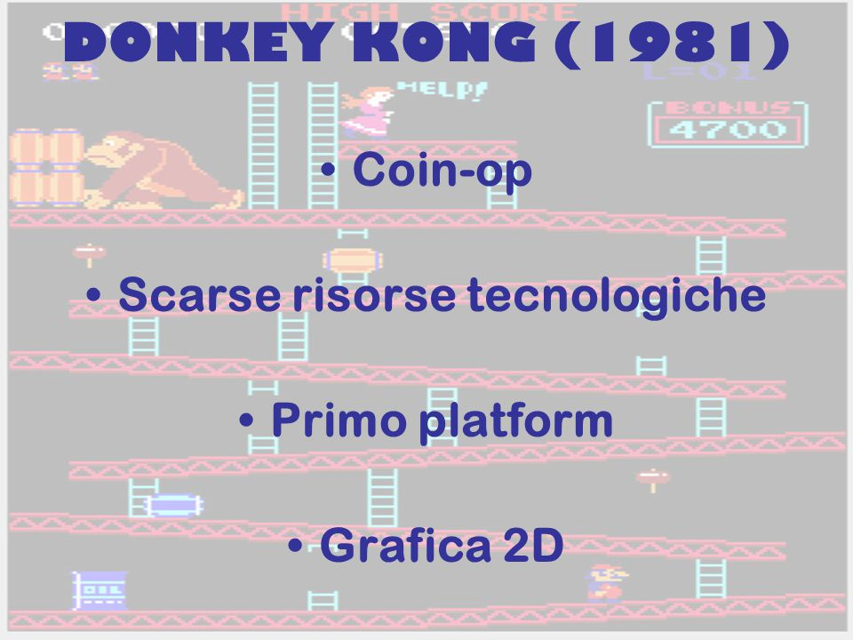 DONKEY KONG (1981) Coin-op Scarse risorse tecnologiche Primo platform Grafica 2D