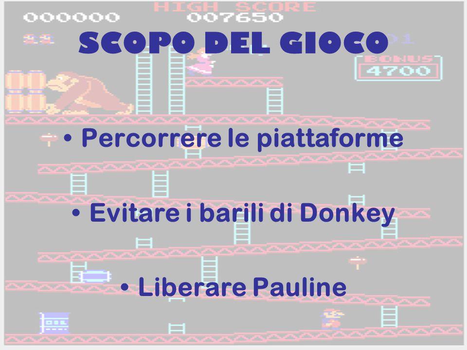 SCOPO DEL GIOCO Percorrere le piattaforme Evitare i barili di Donkey Liberare Pauline