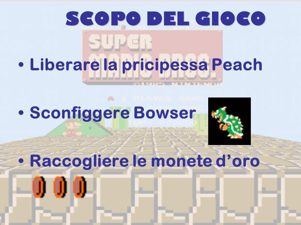 SCOPO DEL GIOCO Liberare la pricipessa Peach Sconfiggere Bowser Raccogliere le monete d'oro