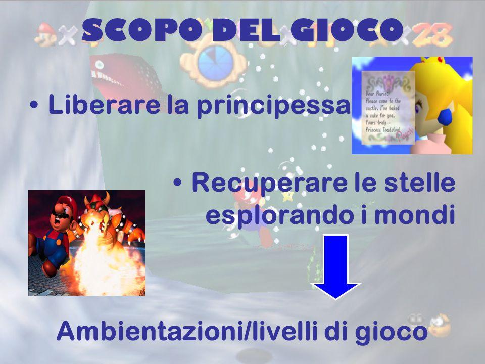 SCOPO DEL GIOCO Liberare la principessa Recuperare le stelle esplorando i mondi Ambientazioni/livelli di gioco