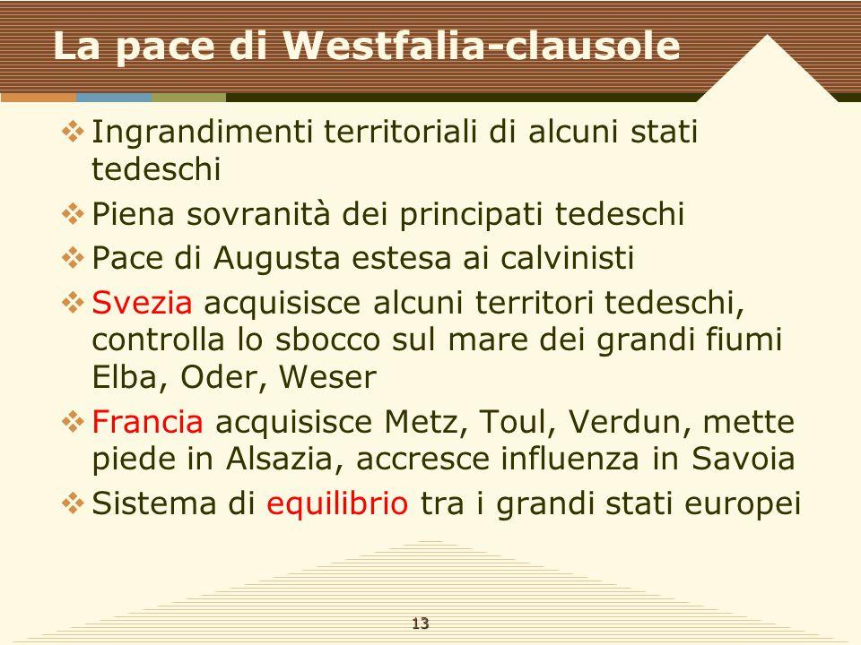 La pace di Westfalia-clausole  Ingrandimenti territoriali di alcuni stati tedeschi  Piena sovranità dei principati tedeschi  Pace di Augusta estesa