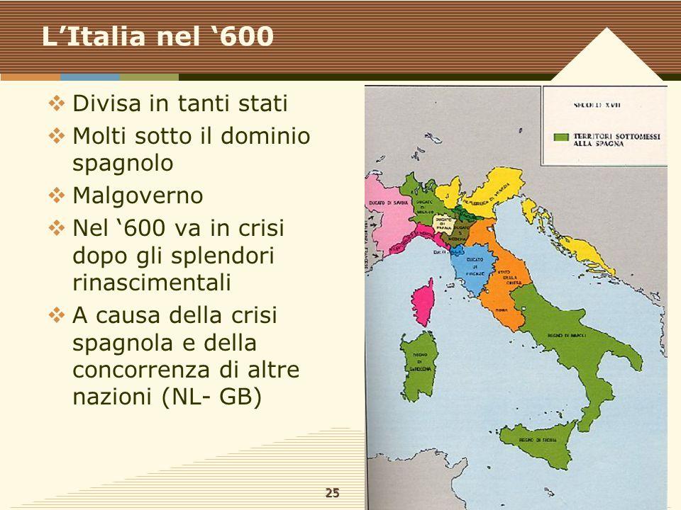 L'Italia nel '600  Divisa in tanti stati  Molti sotto il dominio spagnolo  Malgoverno  Nel '600 va in crisi dopo gli splendori rinascimentali  A