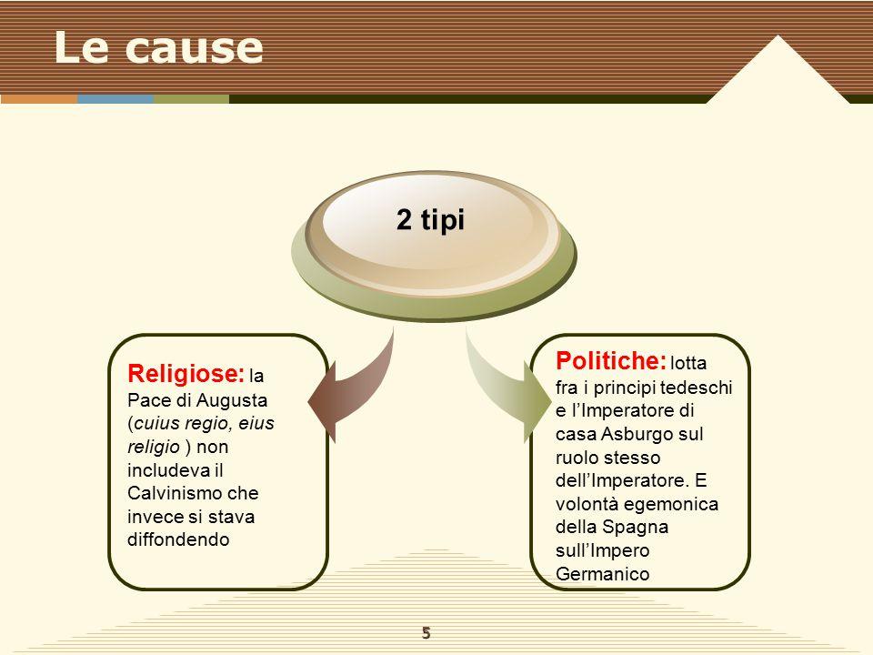 Le cause Religiose: la Pace di Augusta (cuius regio, eius religio ) non includeva il Calvinismo che invece si stava diffondendo 2 tipi Politiche: lott