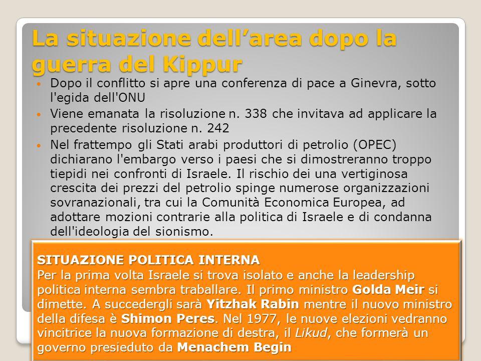 La situazione dell'area dopo la guerra del Kippur Dopo il conflitto si apre una conferenza di pace a Ginevra, sotto l'egida dell'ONU Viene emanata la