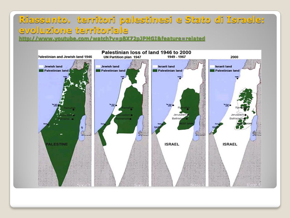 Riassunto. territori palestinesi e Stato di Israele: evolu z ione territoriale http://www.youtube.com/watch?v=pBX72pJPMGI&feature=related Riassunto. t
