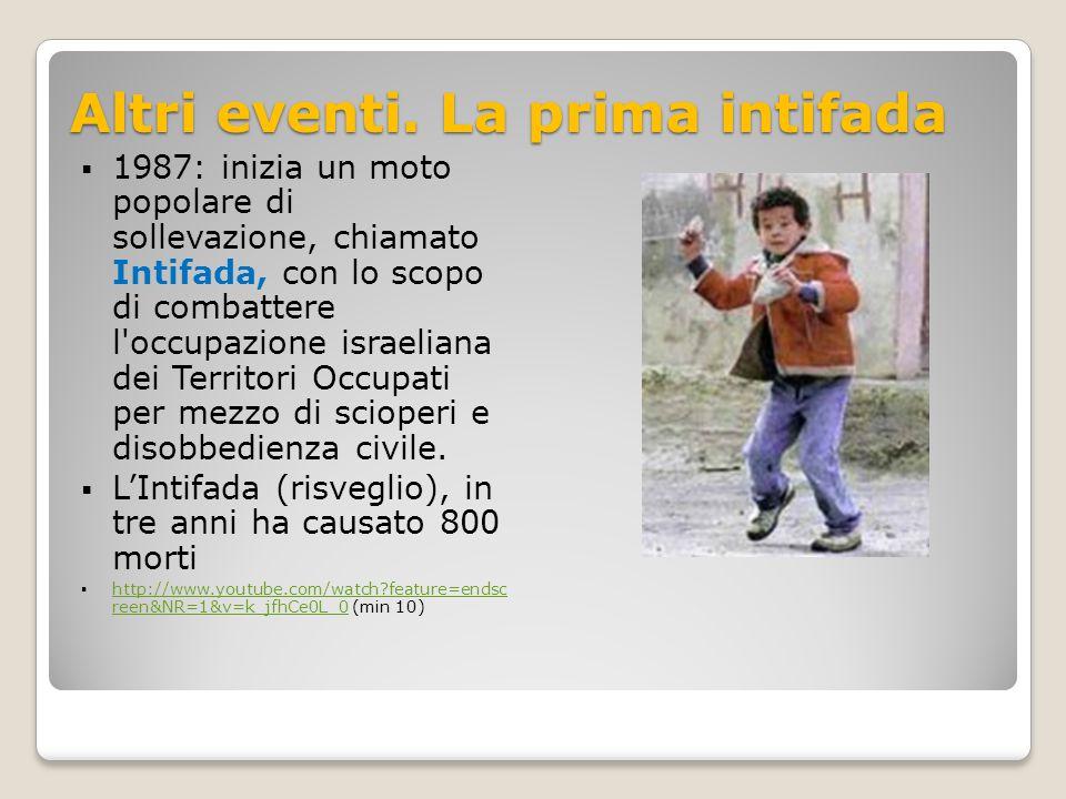 Altri eventi. La prima intifada  1987: inizia un moto popolare di sollevazione, chiamato Intifada, con lo scopo di combattere l'occupazione israelian
