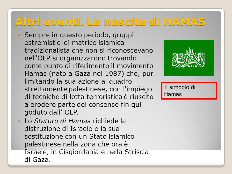 Altri eventi. La nascita di HAMAS Sempre in questo periodo, gruppi estremistici di matrice islamica tradizionalista che non si riconoscevano nell'OLP