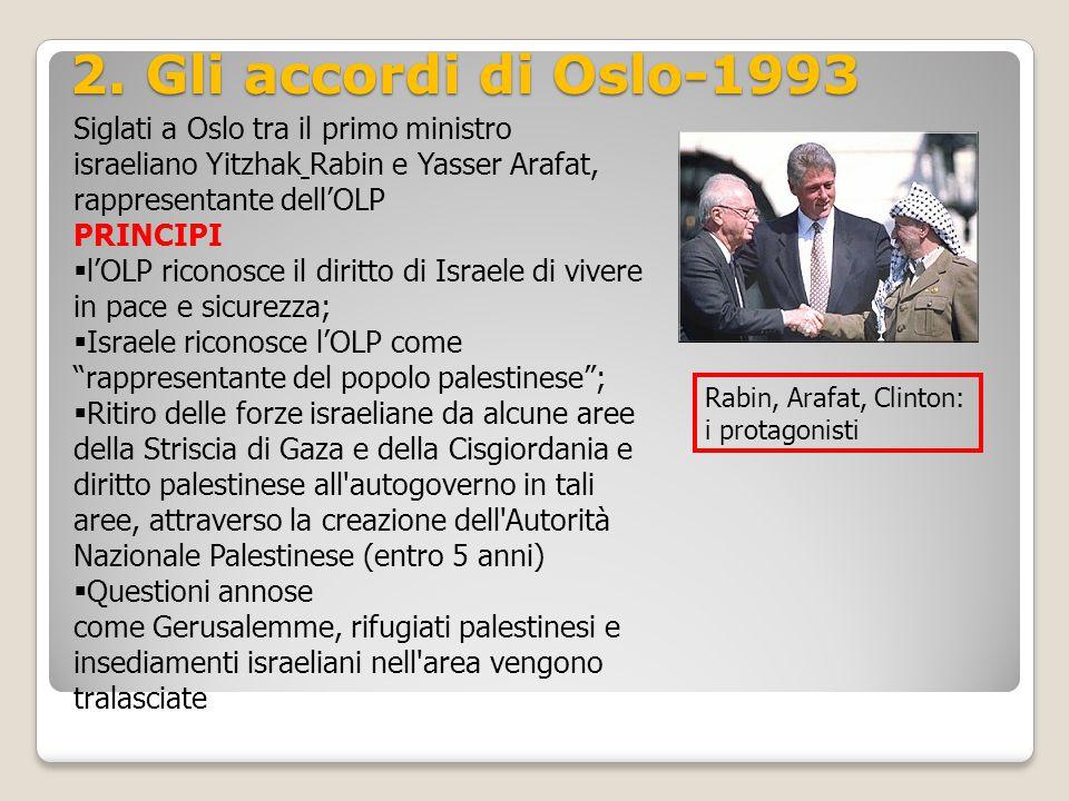 2. Gli accordi di Oslo-1993 Siglati a Oslo tra il primo ministro israeliano Yitzhak Rabin e Yasser Arafat, rappresentante dell'OLP PRINCIPI  l'OLP ri
