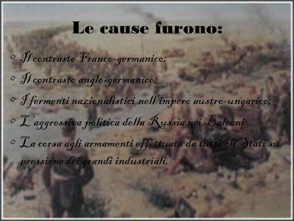 Le cause furono: Il contrasto Franco-germanico; Il contrasto anglo-germanico; I fermenti nazionalistici nell'impero austro-ungarico; L'aggressiva poli