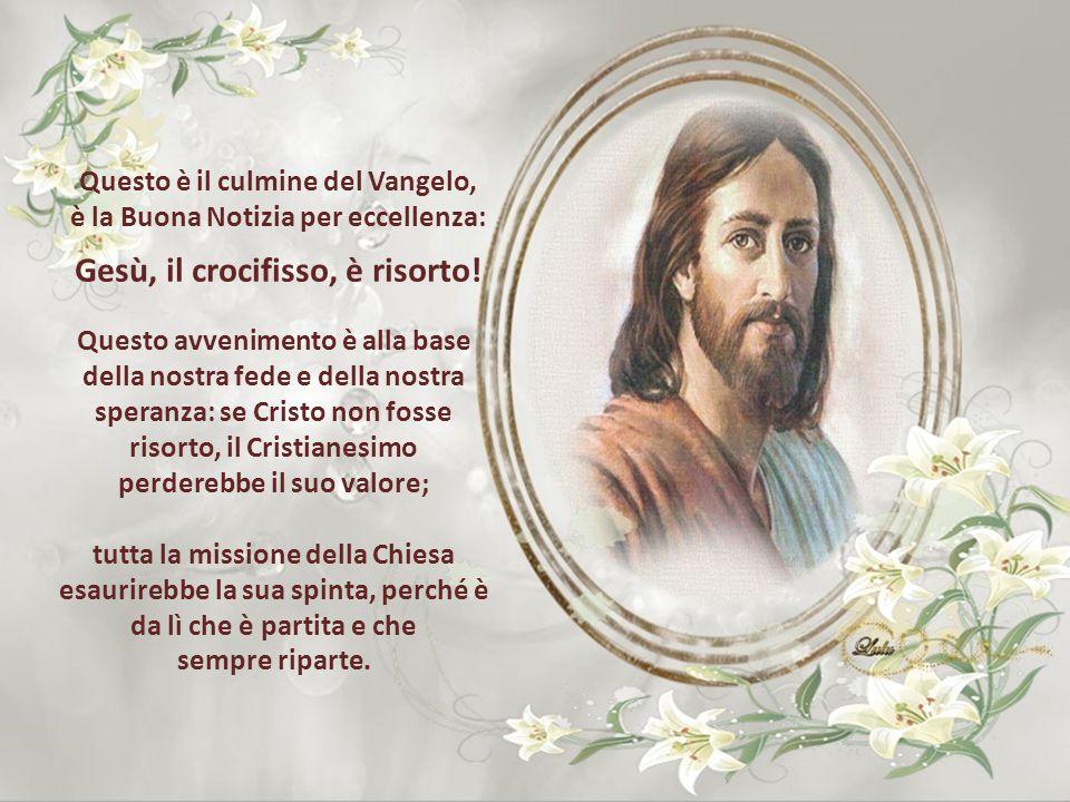 Risuona nella Chiesa sparsa in tutto il mondo l'annuncio dell'Angelo alle donne: «Voi non abbiate paura! So che cercate Gesù, il crocifisso. Non è qui
