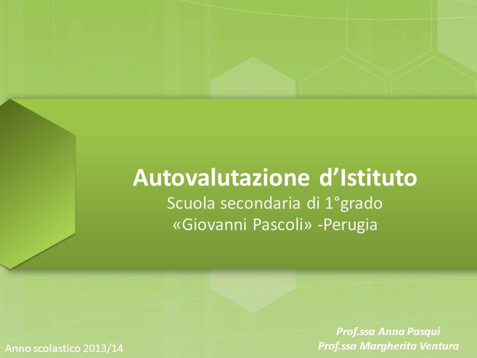 Autovalutazione d'Istituto Scuola secondaria di 1°grado «Giovanni Pascoli» -Perugia Anno scolastico 2013/14 Prof.ssa Anna Pasqui Prof.ssa Margherita Ventura