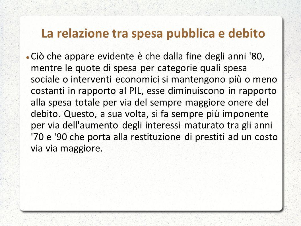 La relazione tra spesa pubblica e debito Ciò che appare evidente è che dalla fine degli anni '80, mentre le quote di spesa per categorie quali spesa s