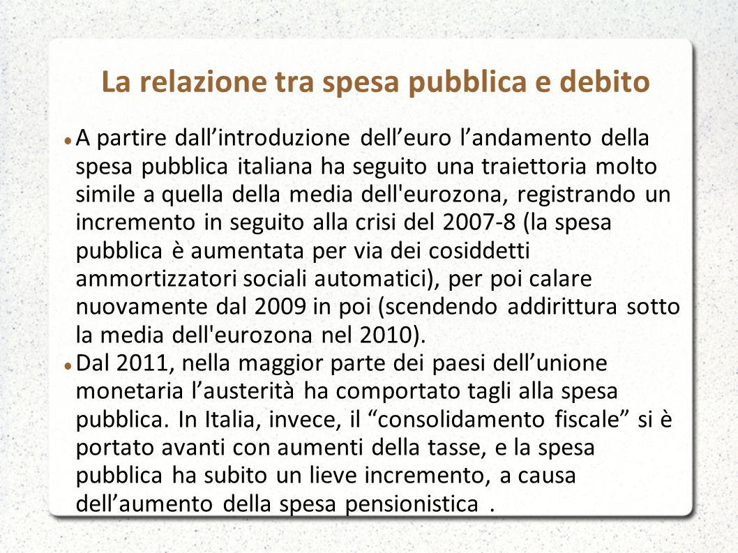 La relazione tra spesa pubblica e debito A partire dall'introduzione dell'euro l'andamento della spesa pubblica italiana ha seguito una traiettoria mo