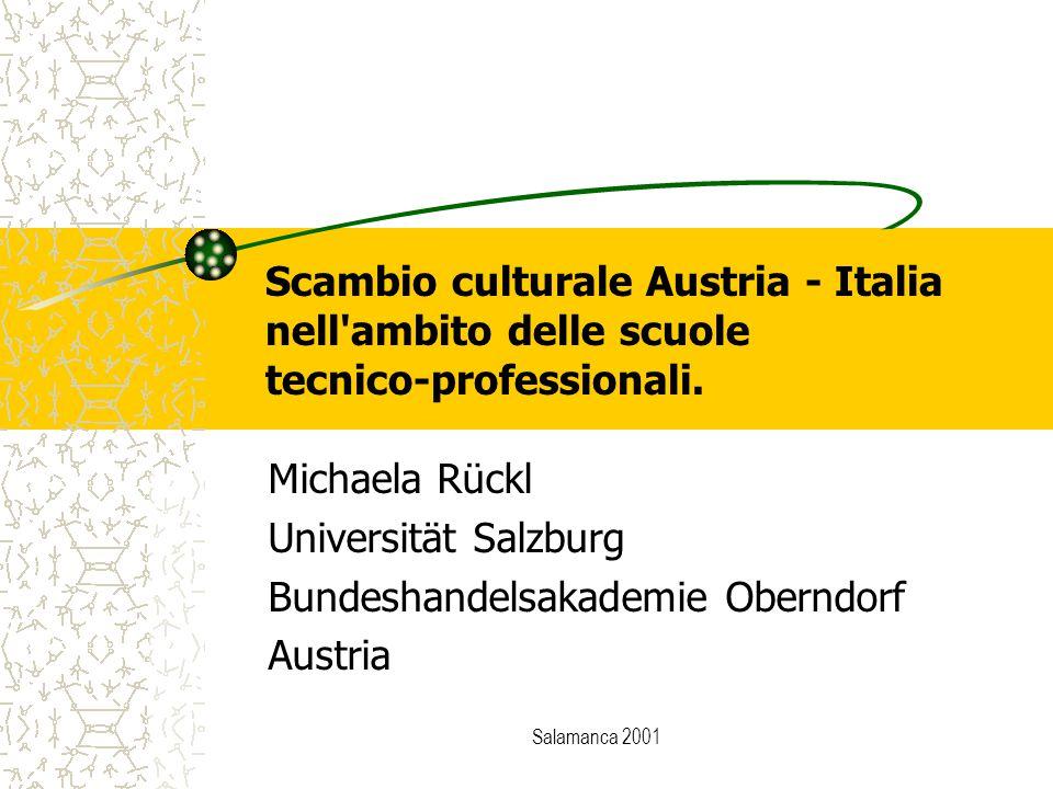 Salamanca 2001 Scambio culturale Austria - Italia nell'ambito delle scuole tecnico-professionali. Michaela Rückl Universität Salzburg Bundeshandelsaka