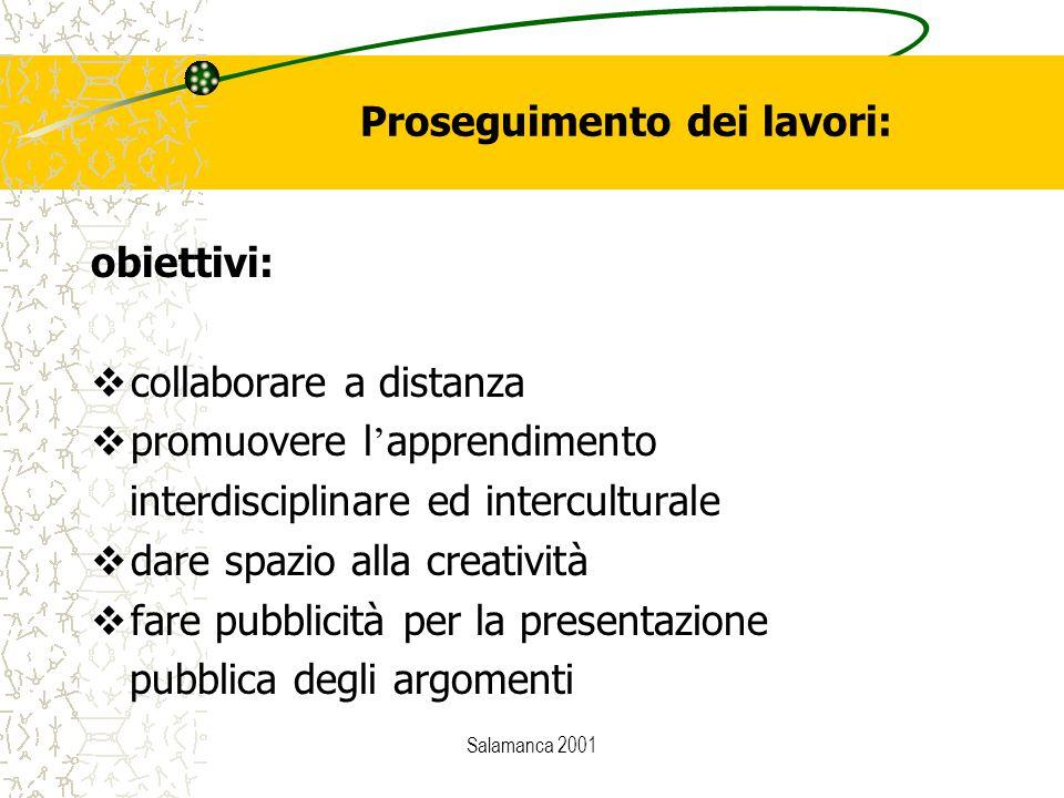 Salamanca 2001 Proseguimento dei lavori: obiettivi:  collaborare a distanza  promuovere l ' apprendimento interdisciplinare ed interculturale  dare spazio alla creatività  fare pubblicità per la presentazione pubblica degli argomenti