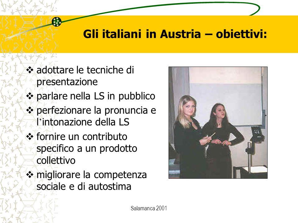 Salamanca 2001 Gli italiani in Austria – obiettivi:  adottare le tecniche di presentazione  parlare nella LS in pubblico  perfezionare la pronuncia
