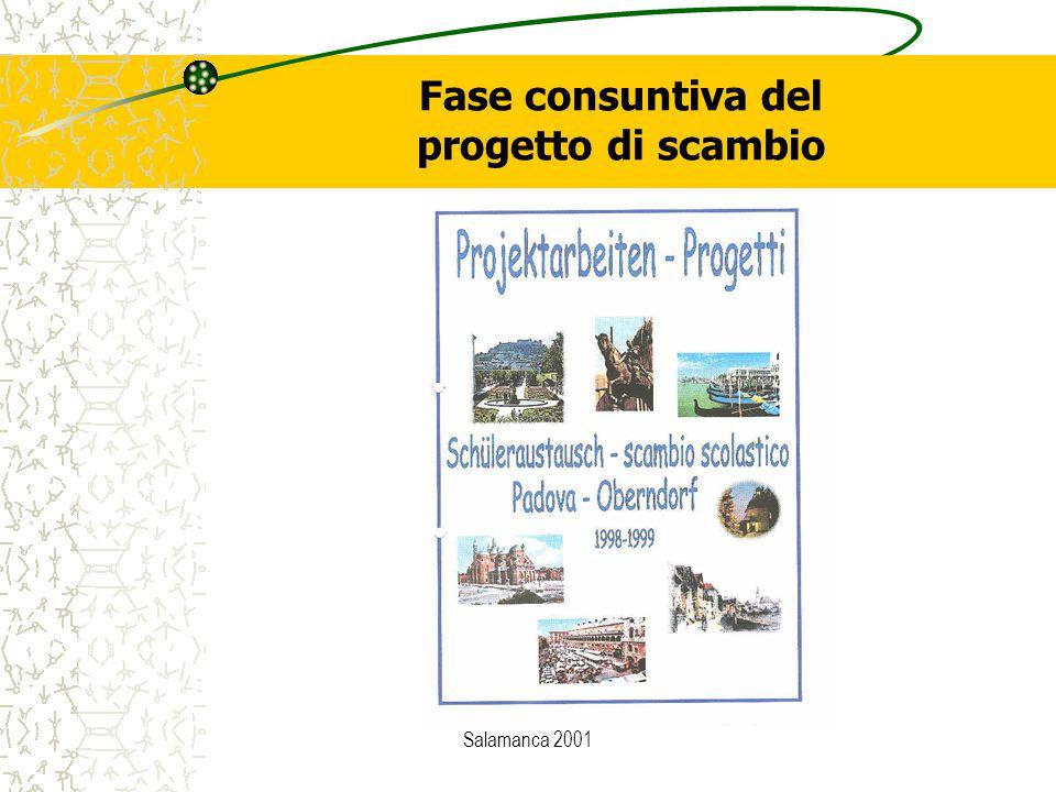 Salamanca 2001 Fase consuntiva del progetto di scambio