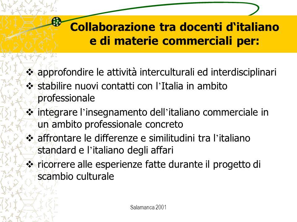 Salamanca 2001 Collaborazione tra docenti d'italiano e di materie commerciali per:  approfondire le attività interculturali ed interdisciplinari  st