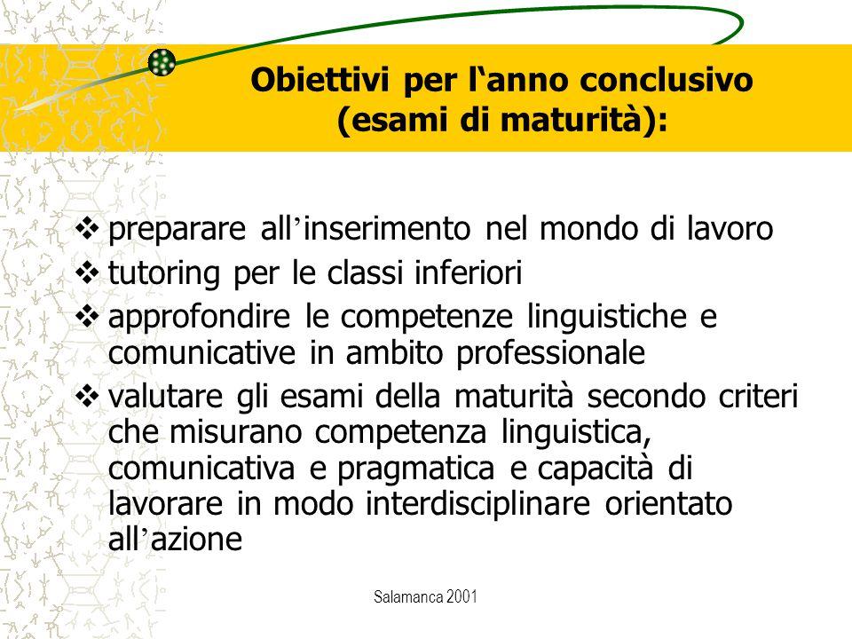 Salamanca 2001 Obiettivi per l'anno conclusivo (esami di maturità):  preparare all ' inserimento nel mondo di lavoro  tutoring per le classi inferio