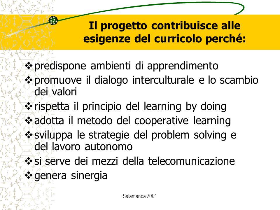 Salamanca 2001 Il progetto contribuisce alle esigenze del curricolo perché:  predispone ambienti di apprendimento  promuove il dialogo intercultural