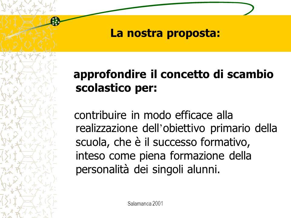 Salamanca 2001 approfondire il concetto di scambio scolastico per: contribuire in modo efficace alla realizzazione dell ' obiettivo primario della scuola, che è il successo formativo, inteso come piena formazione della personalità dei singoli alunni.