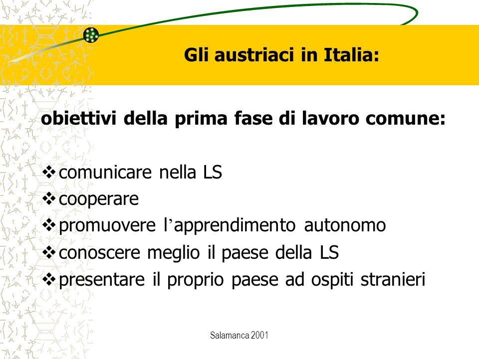 Salamanca 2001 Gli austriaci in Italia: obiettivi della prima fase di lavoro comune:  comunicare nella LS  cooperare  promuovere l ' apprendimento