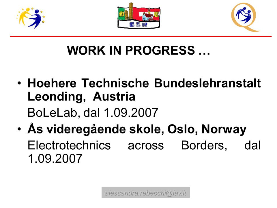 WORK IN PROGRESS … Hoehere Technische Bundeslehranstalt Leonding, Austria BoLeLab, dal 1.09.2007 Ås videregående skole, Oslo, Norway Electrotechnics across Borders, dal 1.09.2007