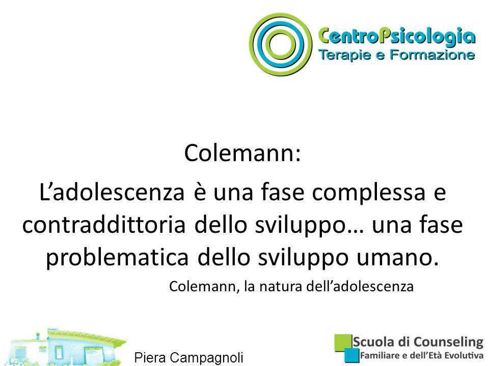Colemann: L'adolescenza è una fase complessa e contraddittoria dello sviluppo… una fase problematica dello sviluppo umano.