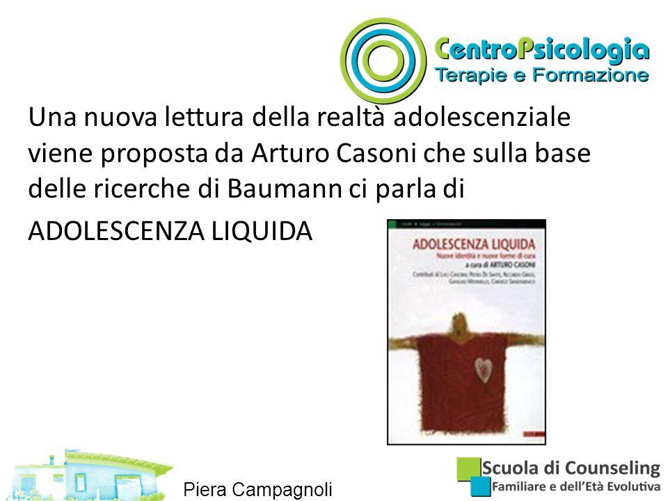 Una nuova lettura della realtà adolescenziale viene proposta da Arturo Casoni che sulla base delle ricerche di Baumann ci parla di ADOLESCENZA LIQUIDA Piera Campagnoli