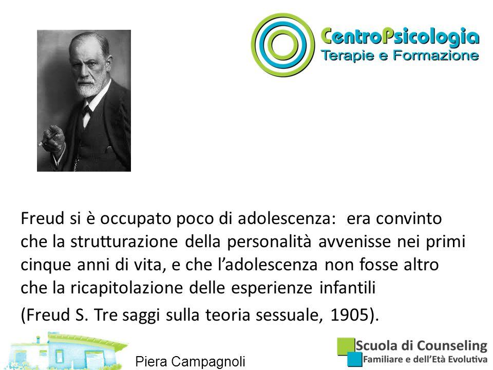 Freud si è occupato poco di adolescenza: era convinto che la strutturazione della personalità avvenisse nei primi cinque anni di vita, e che l'adolescenza non fosse altro che la ricapitolazione delle esperienze infantili (Freud S.