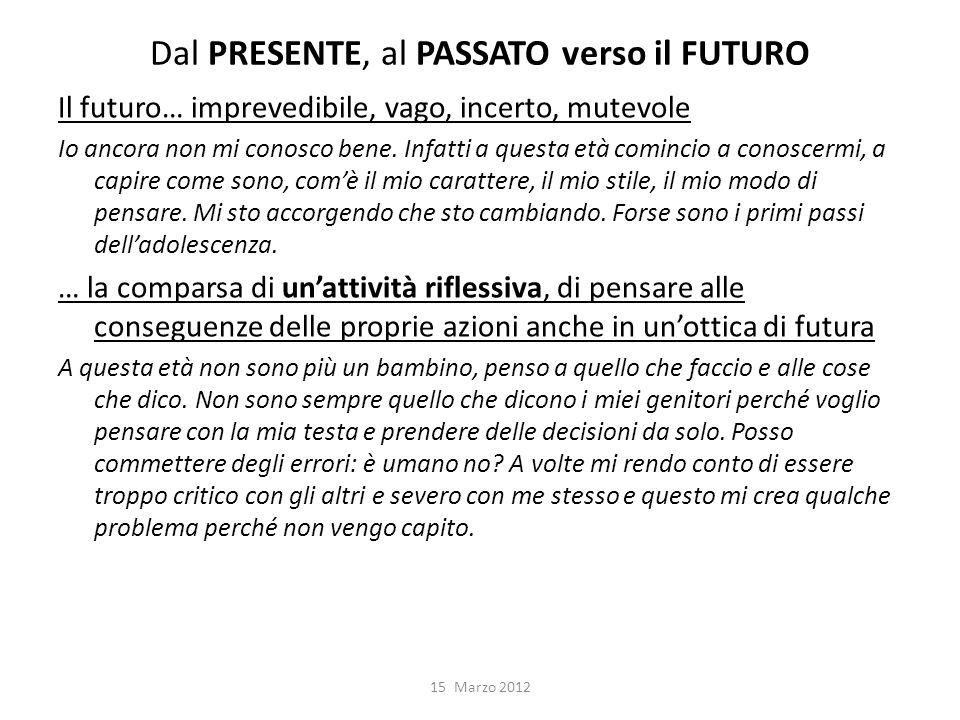 Dal PRESENTE, al PASSATO verso il FUTURO Il futuro… imprevedibile, vago, incerto, mutevole Io ancora non mi conosco bene.