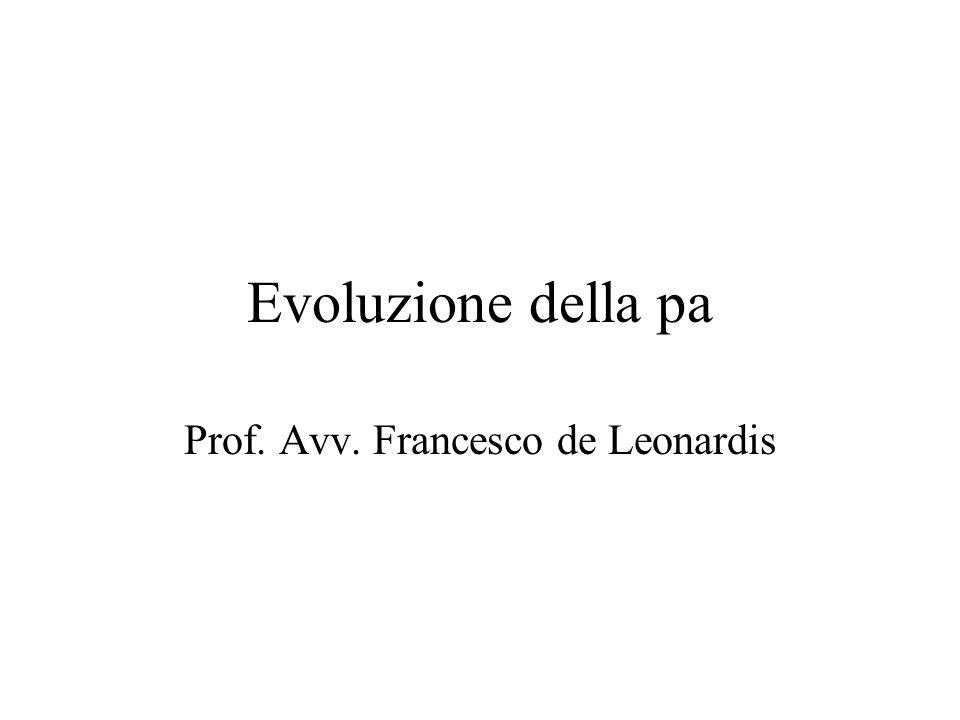 Evoluzione della pa Prof. Avv. Francesco de Leonardis