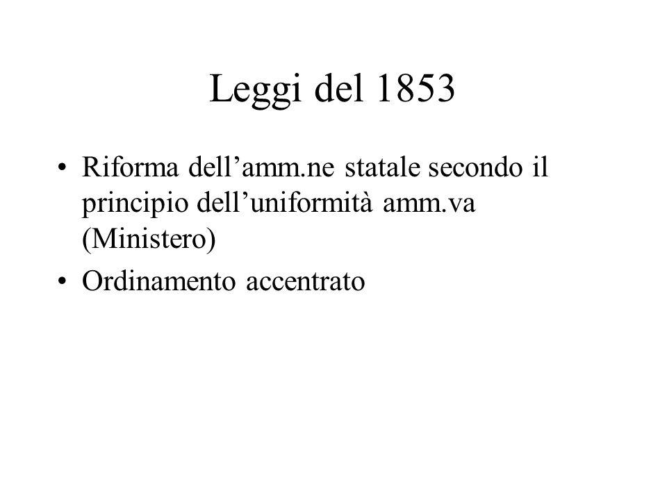Leggi del 1853 Riforma dell'amm.ne statale secondo il principio dell'uniformità amm.va (Ministero) Ordinamento accentrato