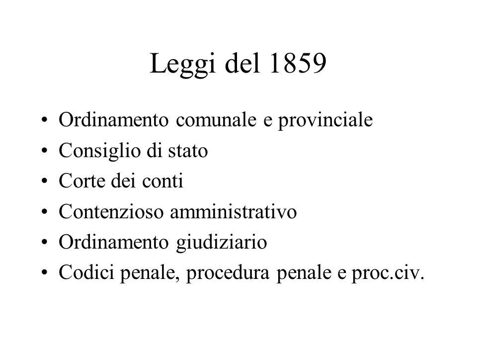 Leggi del 1859 Ordinamento comunale e provinciale Consiglio di stato Corte dei conti Contenzioso amministrativo Ordinamento giudiziario Codici penale,