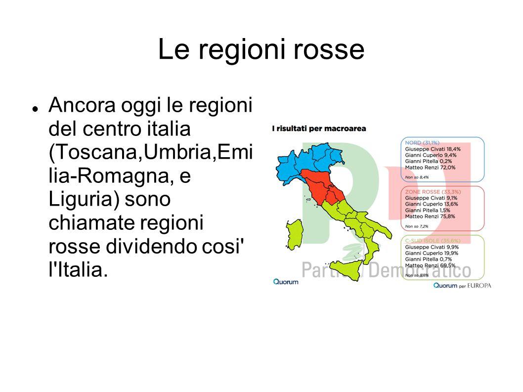 Le regioni rosse Ancora oggi le regioni del centro italia (Toscana,Umbria,Emi lia-Romagna, e Liguria) sono chiamate regioni rosse dividendo cosi' l'It