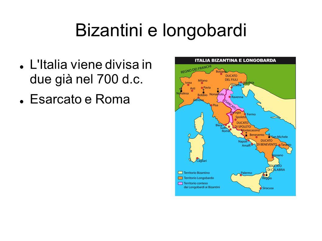 Carlo Magno Anche l impero di Carlo Magno contribui a formare questa divisione,Perchè si fermo al limite già tracciato da Longobardi e Bizantini