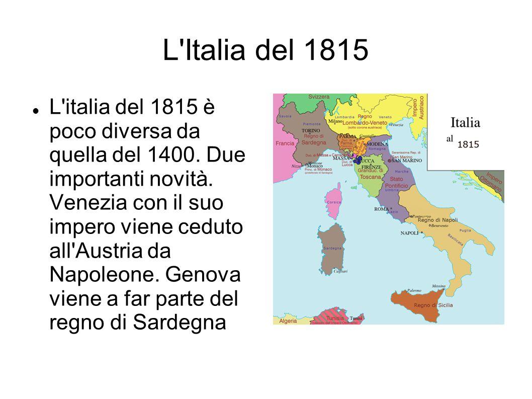 L'Italia del 1815 L'italia del 1815 è poco diversa da quella del 1400. Due importanti novità. Venezia con il suo impero viene ceduto all'Austria da Na