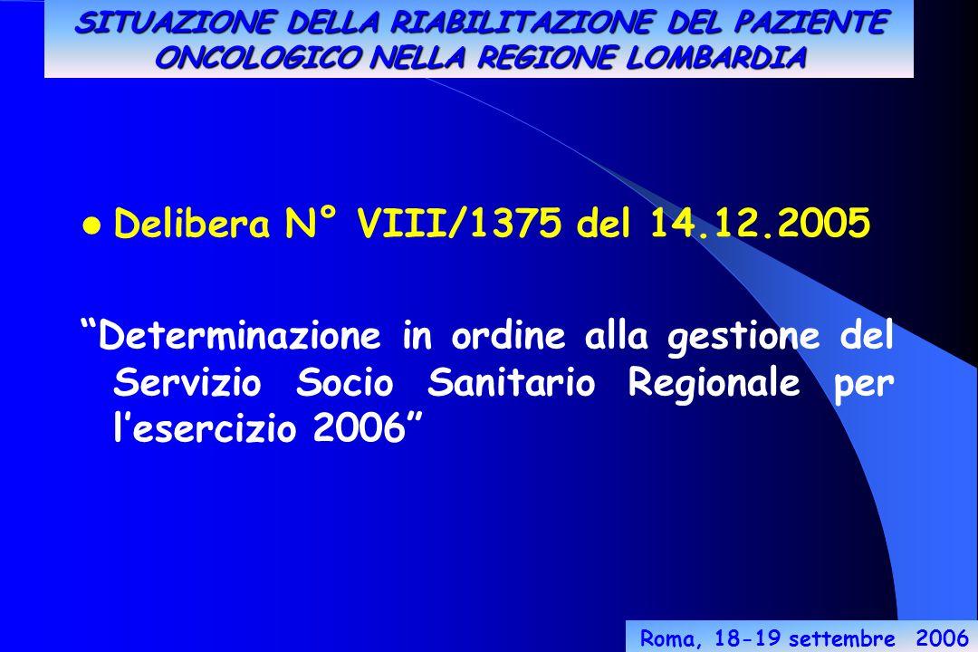 Roma, 18-19 settembre 2006 Delibera N° VIII/1375 del 14.12.2005 Determinazione in ordine alla gestione del Servizio Socio Sanitario Regionale per l'esercizio 2006 SITUAZIONE DELLA RIABILITAZIONE DEL PAZIENTE ONCOLOGICO NELLA REGIONE LOMBARDIA