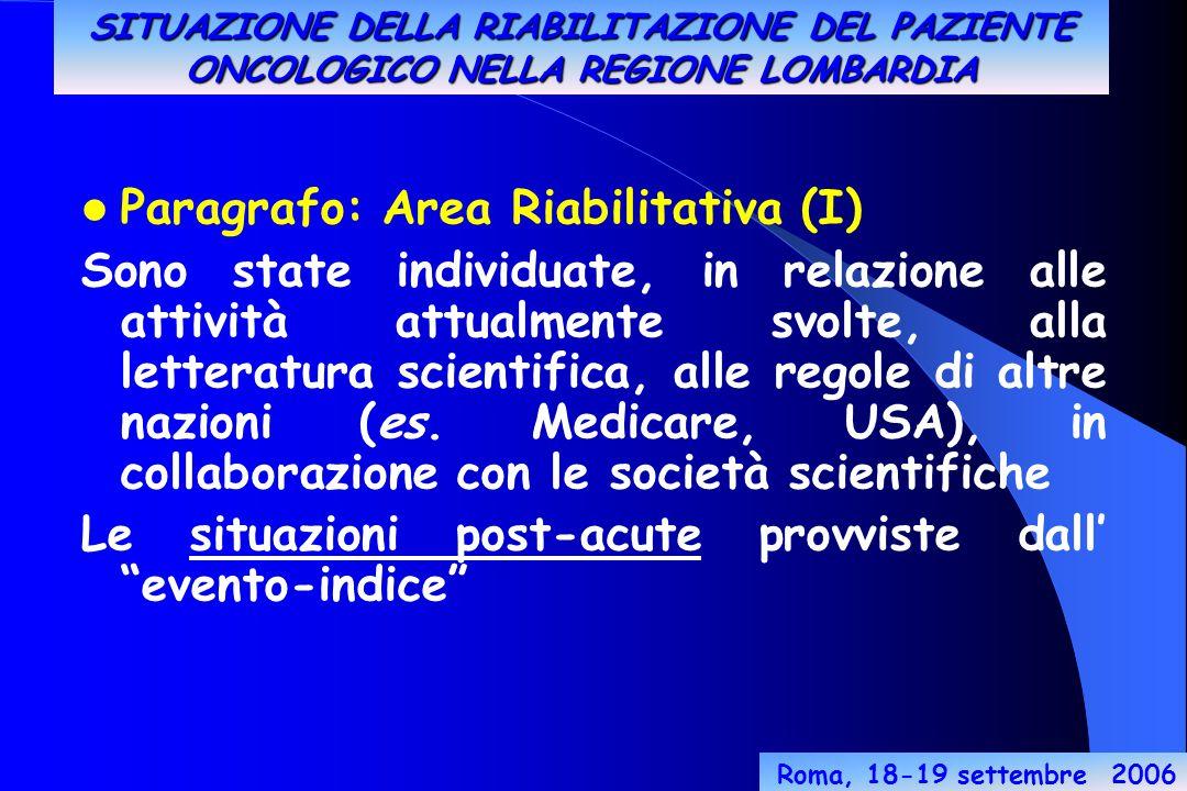 Roma, 18-19 settembre 2006 Paragrafo: Area Riabilitativa (I) Sono state individuate, in relazione alle attività attualmente svolte, alla letteratura scientifica, alle regole di altre nazioni (es.