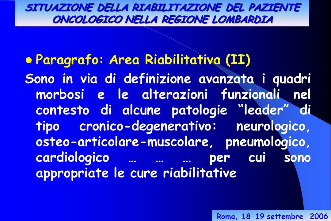 Roma, 18-19 settembre 2006 Paragrafo: Area Riabilitativa (II) Sono in via di definizione avanzata i quadri morbosi e le alterazioni funzionali nel contesto di alcune patologie leader di tipo cronico-degenerativo: neurologico, osteo-articolare-muscolare, pneumologico, cardiologico … … … per cui sono appropriate le cure riabilitative SITUAZIONE DELLA RIABILITAZIONE DEL PAZIENTE ONCOLOGICO NELLA REGIONE LOMBARDIA