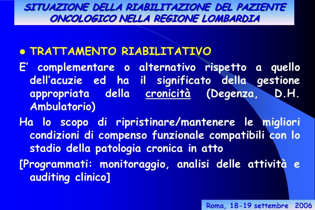 Roma, 18-19 settembre 2006 TRATTAMENTO RIABILITATIVO E' complementare o alternativo rispetto a quello dell'acuzie ed ha il significato della gestione appropriata della cronicità (Degenza, D.H.