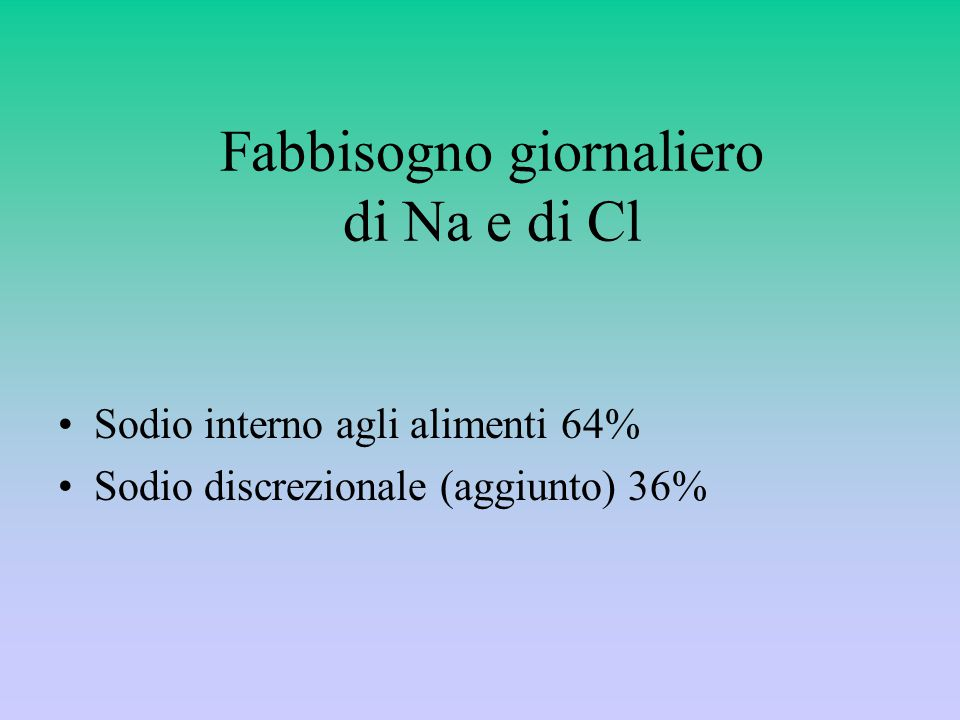 Fabbisogno giornaliero di Na e di Cl Sodio interno agli alimenti 64% Sodio discrezionale (aggiunto) 36%