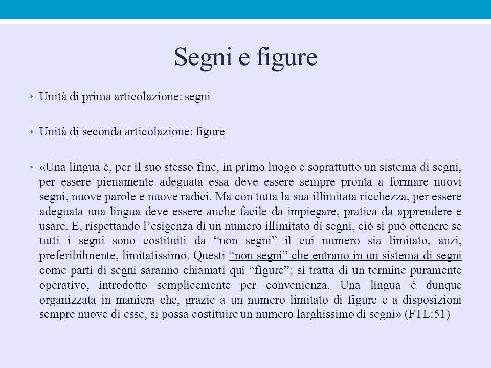 Segni e figure Unità di prima articolazione: segni Unità di seconda articolazione: figure «Una lingua è, per il suo stesso fine, in primo luogo e sopr