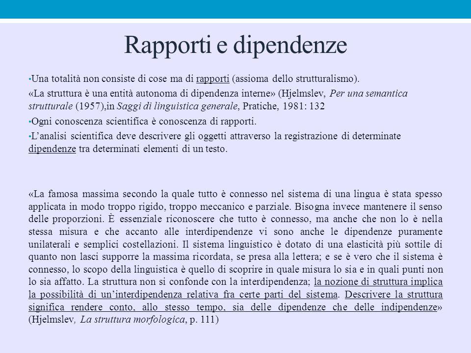 Rapporti e dipendenze Una totalità non consiste di cose ma di rapporti (assioma dello strutturalismo). «La struttura è una entità autonoma di dipenden