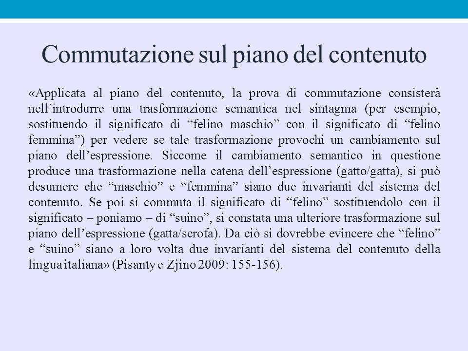 Commutazione sul piano del contenuto «Applicata al piano del contenuto, la prova di commutazione consisterà nell'introdurre una trasformazione semanti